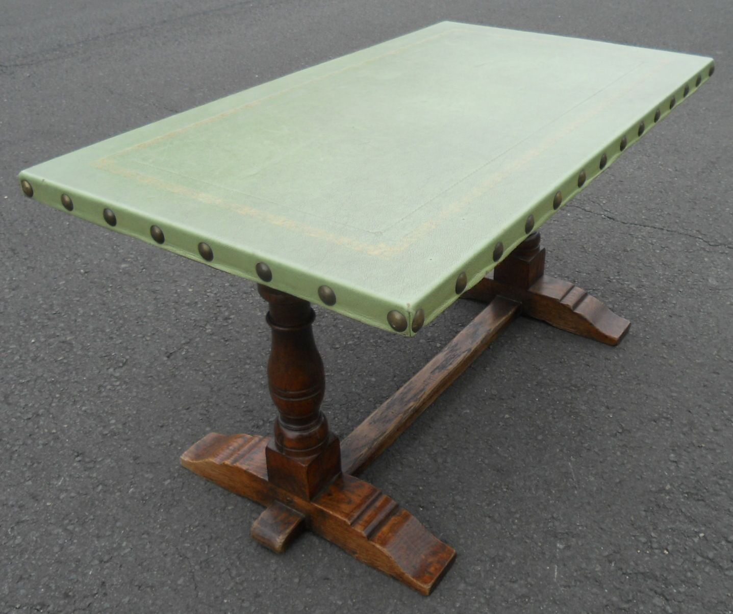 Leather Top Antique Style Oak Coffee Table By Rackstraw
